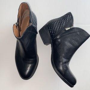 Lucky Brand Black Leather Breton Q Diamond Booties